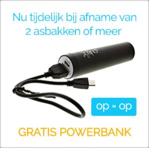 Gratis powerbank bij RVS asbakken